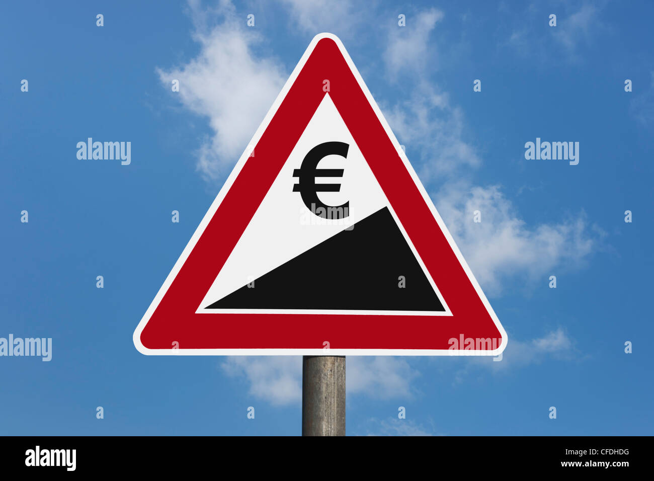 Detail photo of a danger sign 'Upward gradient' with a Euro currency sign, background sky. - Stock Image