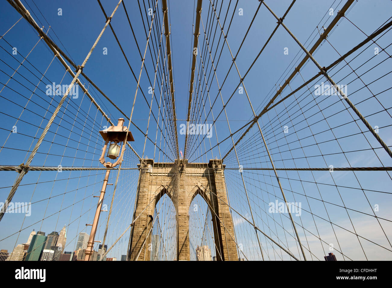 Brooklyn Bridge in the sunlight, Manhattan, New York, USA, America - Stock Image