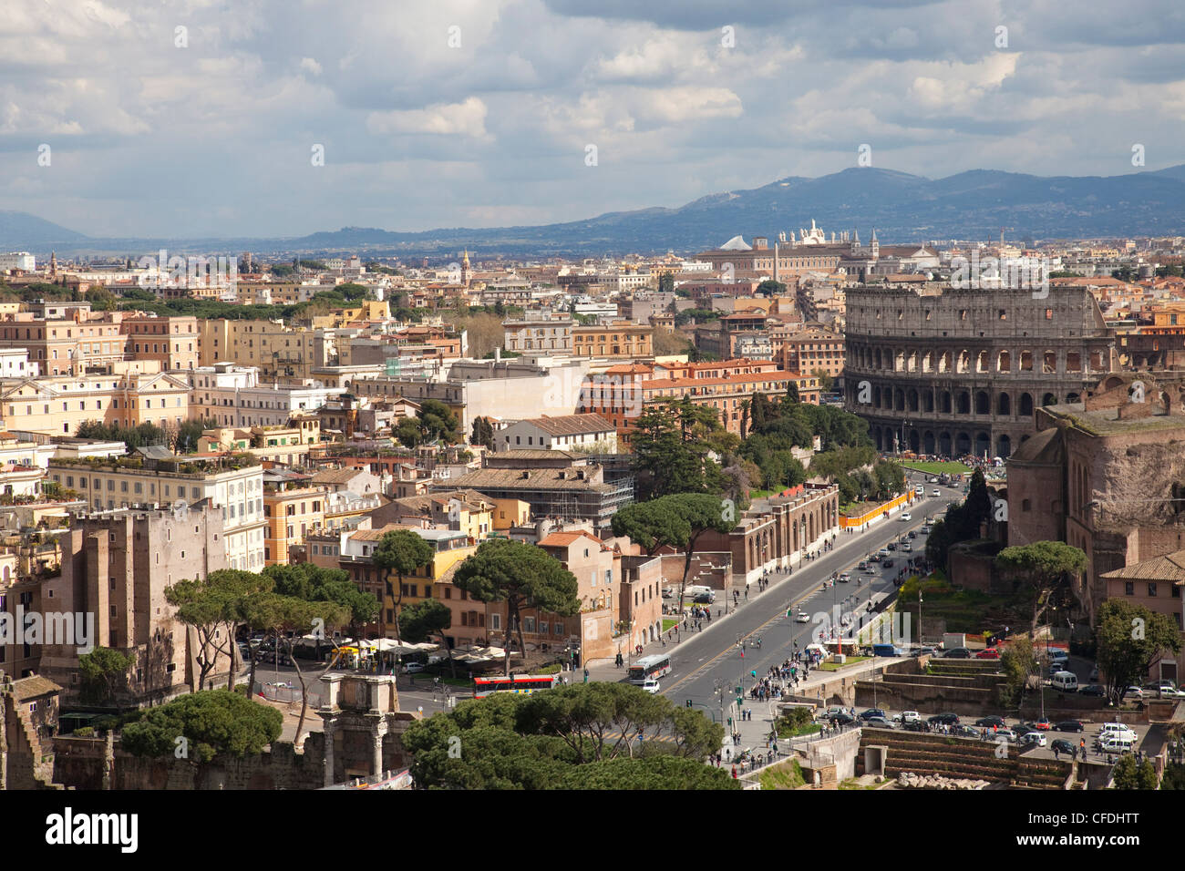 View over Rome and the Colosseum from the Altar of the Fatherland, Capitoline Hill, Rome, Lazio, Italy, Europe - Stock Image