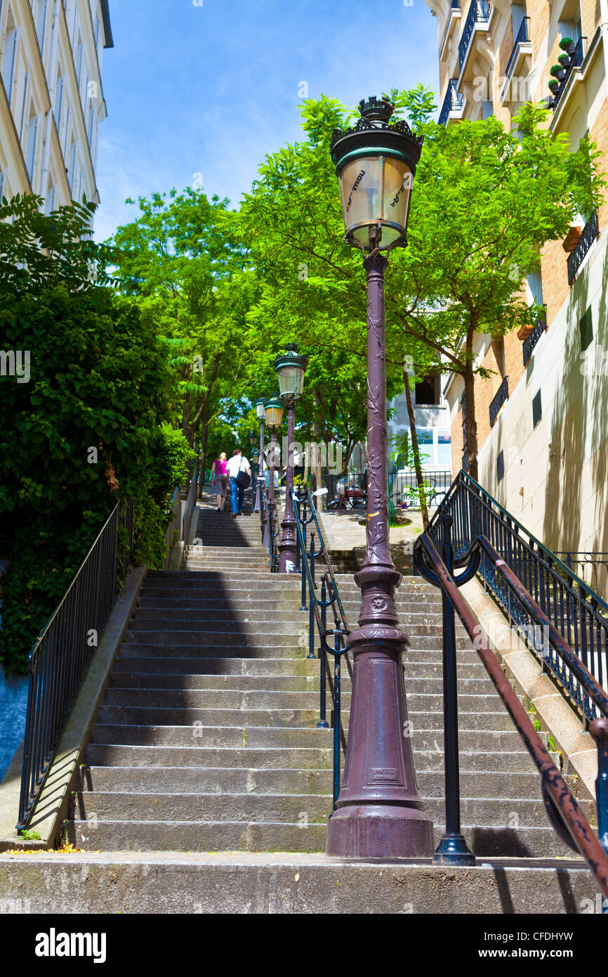 Montmartre Steps, immortalized in many paintings and photographs, Montmartre, Paris, France, Europe - Stock Image