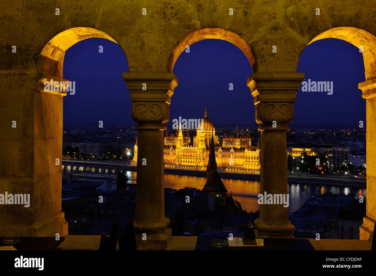 View from the Fisherman's Bastion onto the House of Parliament at Danube river at night, Budapest, Hungary, Europe Stock Photo