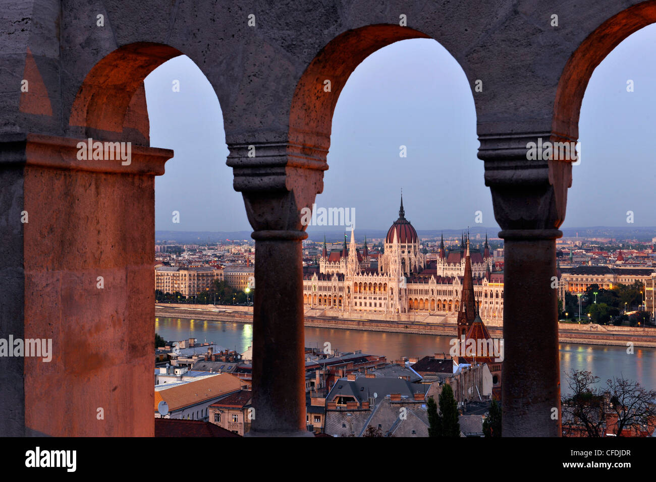 View from the Fisherman's Bastion onto the House of Parliament at Danube river, Budapest, Hungary, Europe - Stock Image