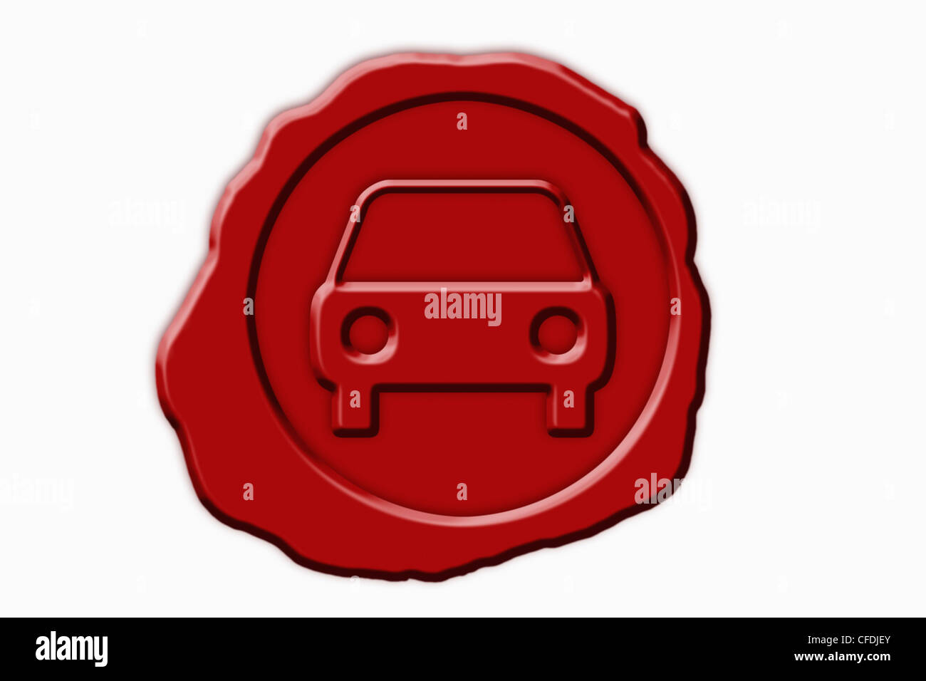 Detail photo of a red seal with a Car Symbol in the middle, front view. - Stock Image