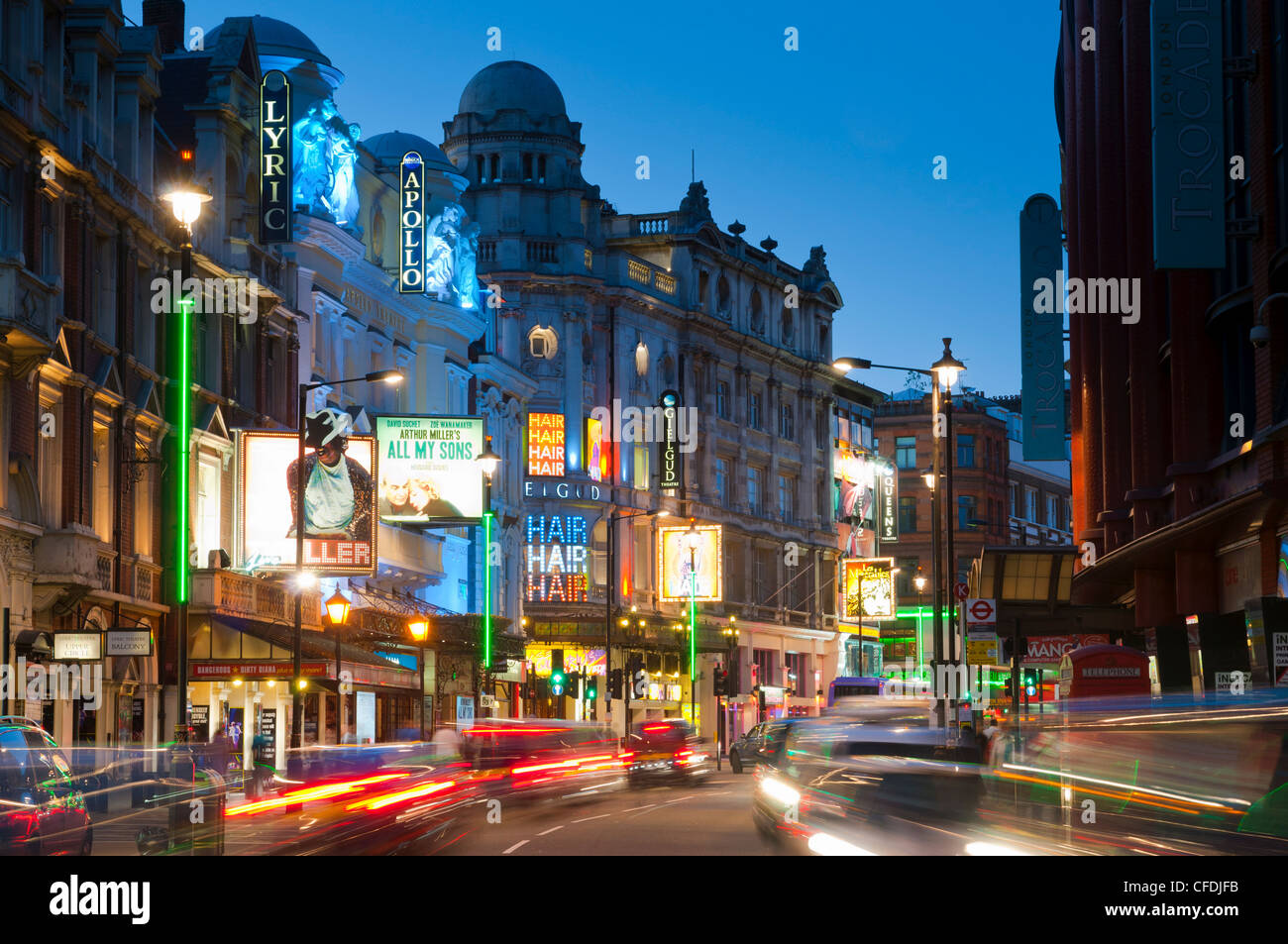 Theatreland in the evening, Shaftesbury Avenue, London, England, United Kingdom, Europe - Stock Image