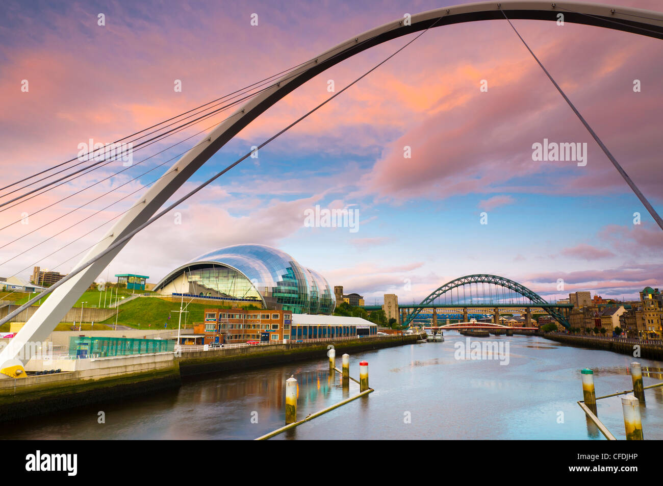 The Millennium Bridge and The Sage,the River Tyne, Tyne Bridge in background, Gateshead, Tyne and Wear, England, - Stock Image