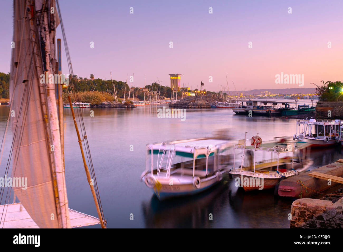 River Nile, Aswan, Upper Egypt, Egypt, North Africa, Africa - Stock Image