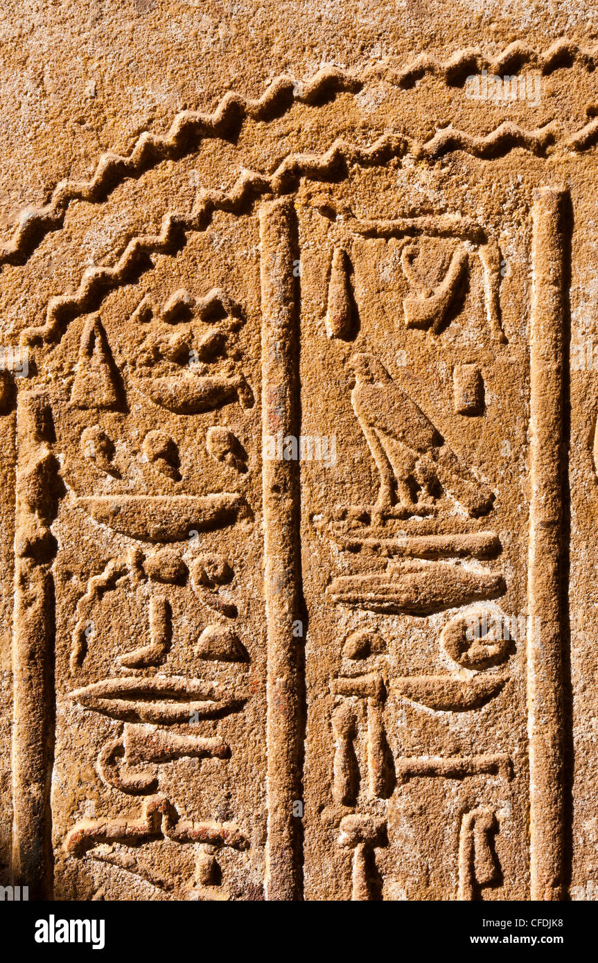 Detail, Temple of Horus, Edfu, Upper Egypt, Egypt, North Africa, Africa Stock Photo
