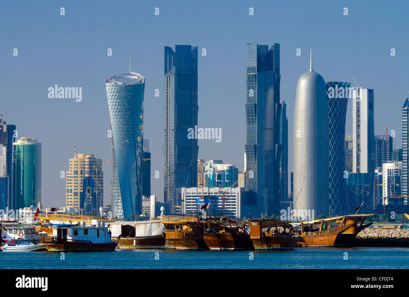 Modern skyline from Dhow Harbour, Doha, Qatar, Middle East - Stock Image