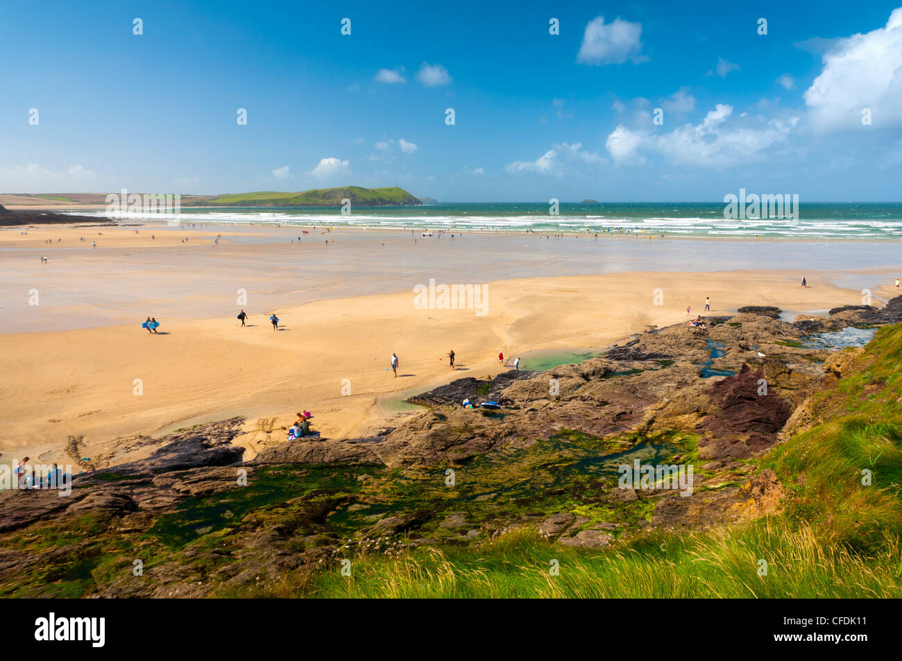 Polzeath Beach, Cornwall, England, United Kingdom, Europe - Stock Image