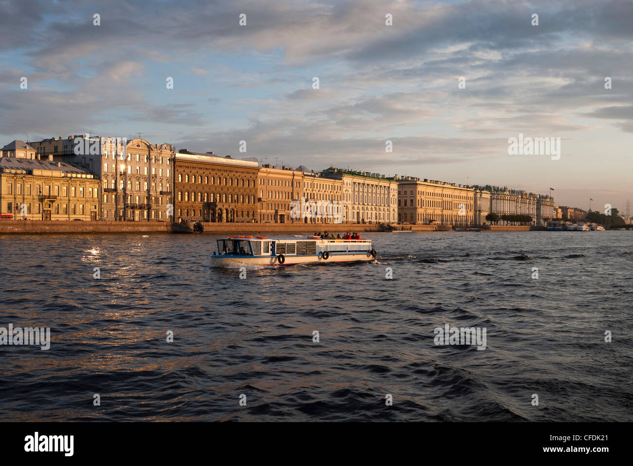 Sightseeing boat excursion on Neva river, St. Petersburg, Russia - Stock Image