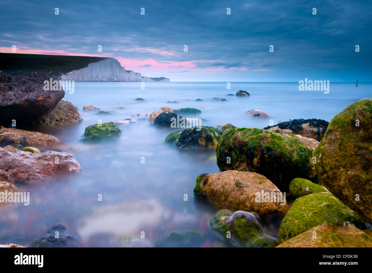 Seven Sisters Cliffs from Cuckmere Haven Beach, South Downs, East Sussex, England, United Kingdom, Europe - Stock Image
