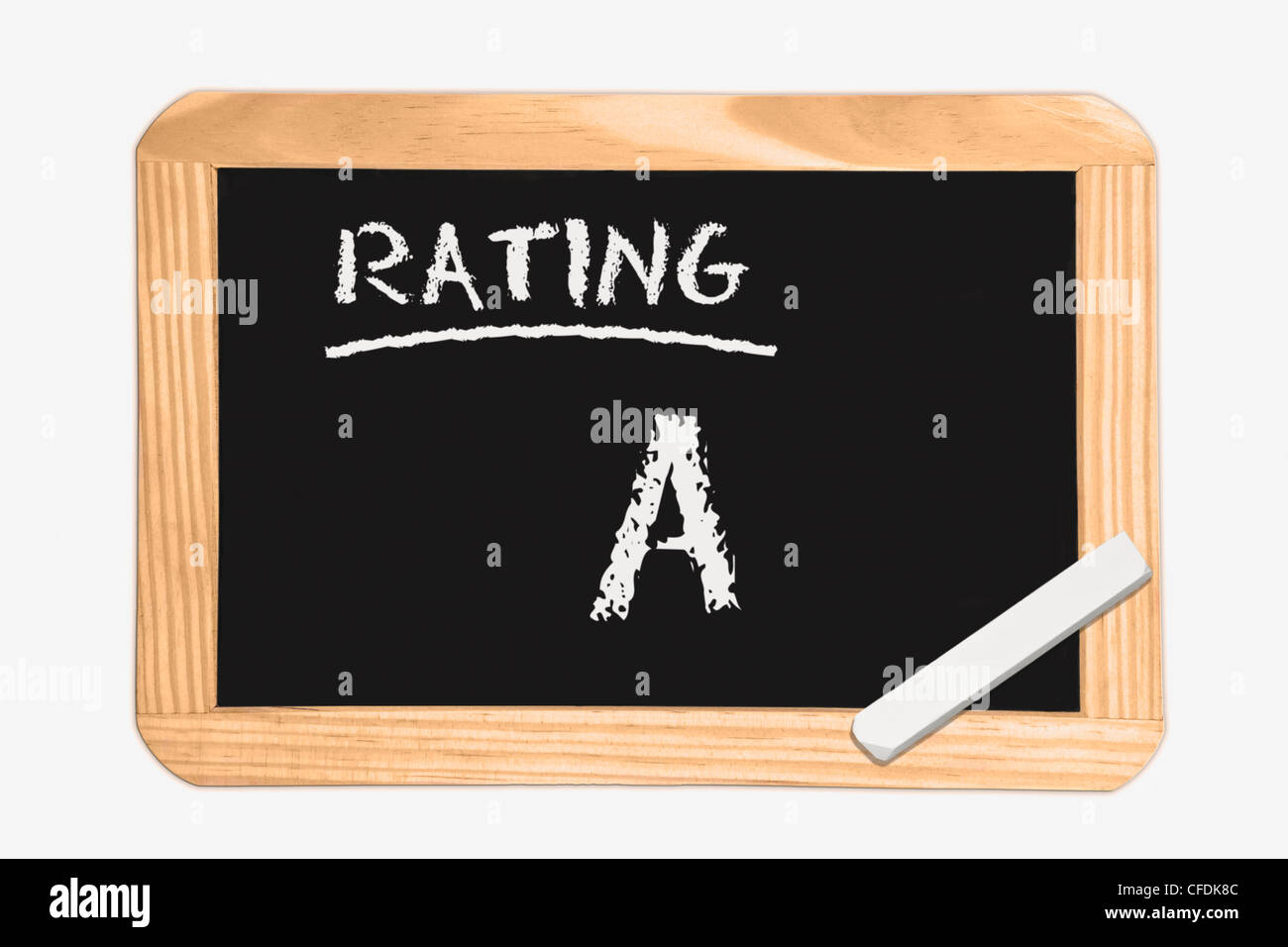 Detail photo of a chalkboard  with the inscription Rating A, white chalk lies in a corner, background white. Stock Photo