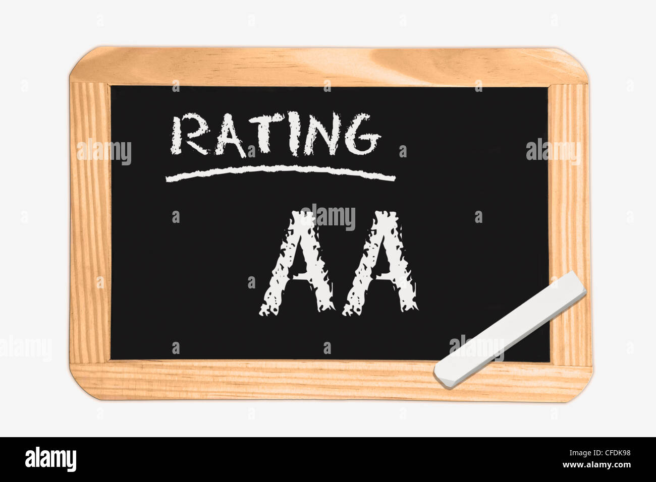"""Detail photo of a chalkboard with the inscription """"Rating AA"""", white chalk lies in a corner, background white. Stock Photo"""