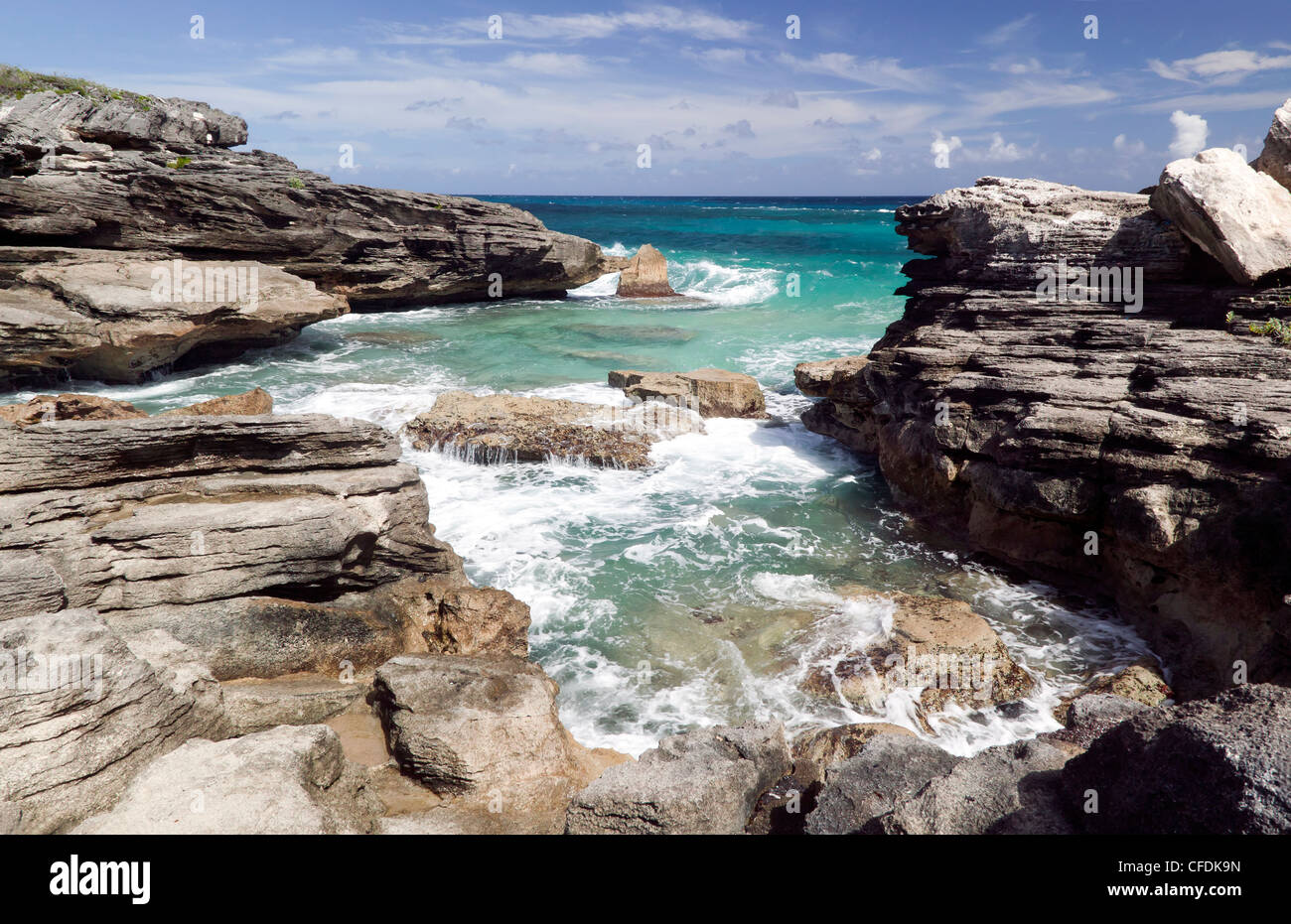 Capture of a coastal section of Spittal Pond Nature Reserve, Smith's Parish, Bermuda - Stock Image