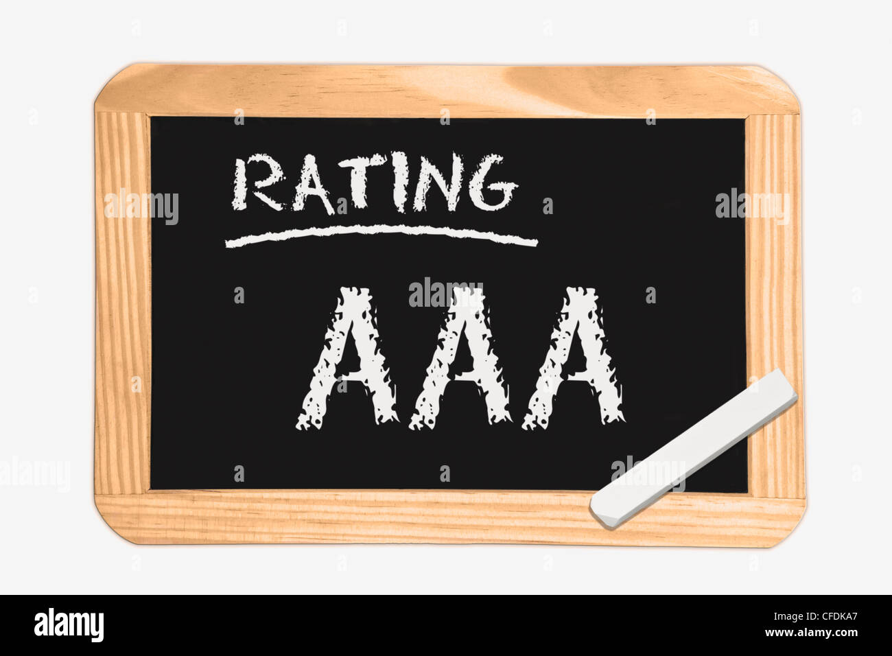 """Detail photo of a chalkboard with the inscription """"Rating AAA"""", white chalk lies in a corner, background white. Stock Photo"""