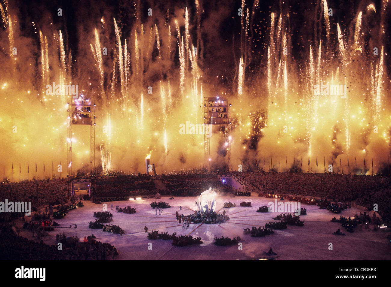 Opening ceremonies at the 1994 Olympic Winter Games. - Stock Image
