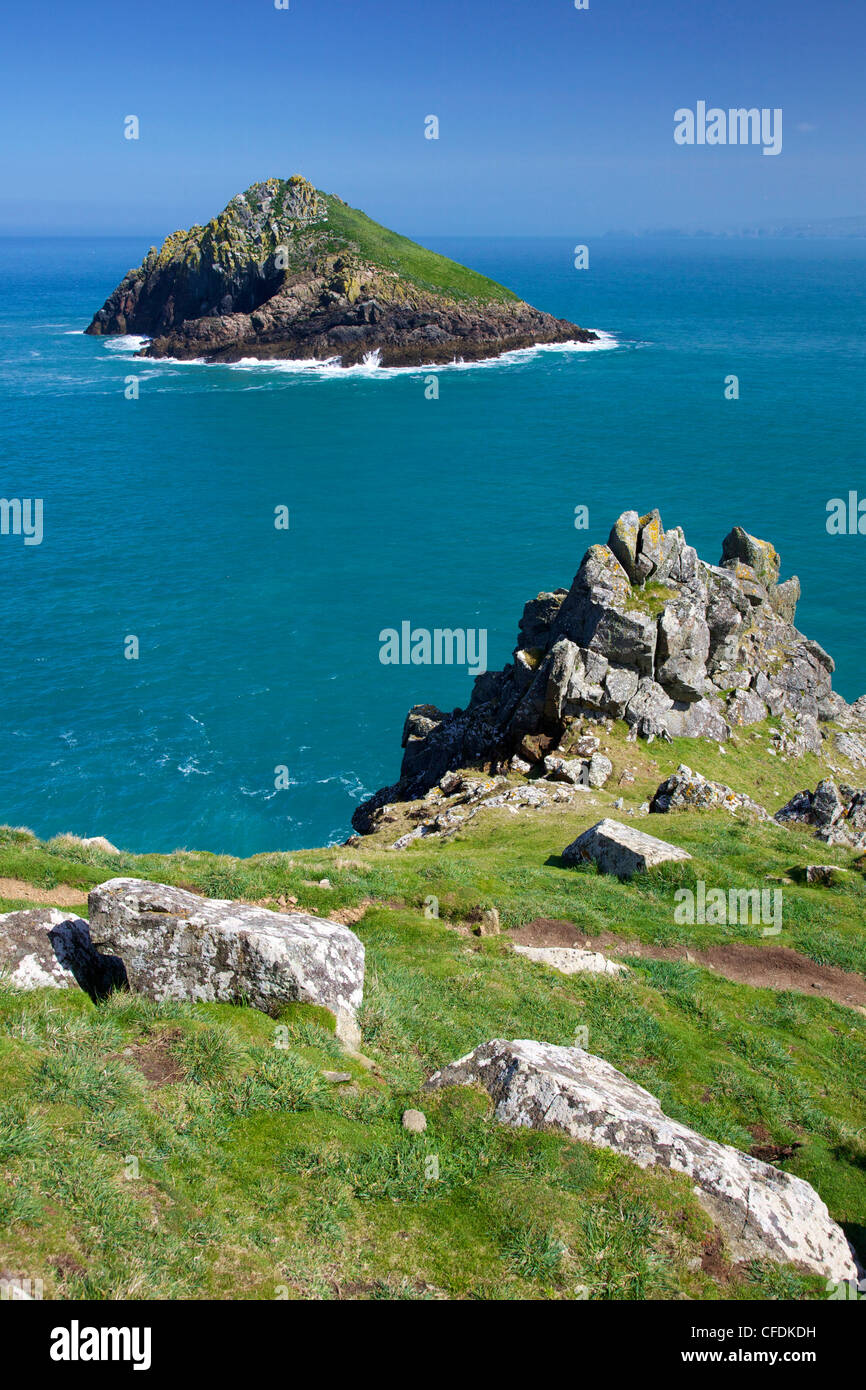 View of the Mouls off Rumps Point, Pentire Headland, Polzeath, North Cornwall, England, United Kingdom, Europe - Stock Image