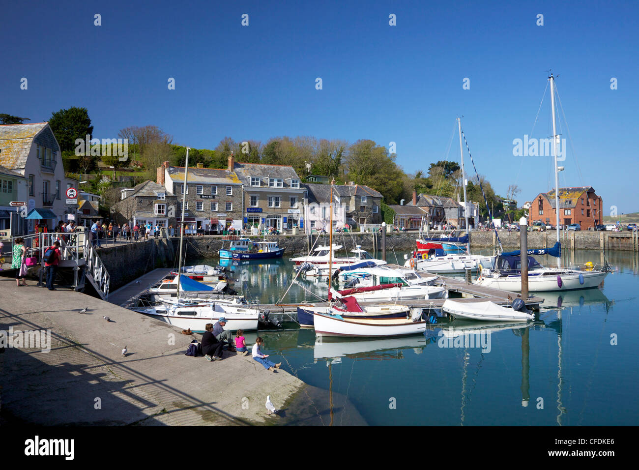 Fishing boats in Padstow Harbour, Camel Estuary, North Cornwall, England, United Kingdom, Europe - Stock Image