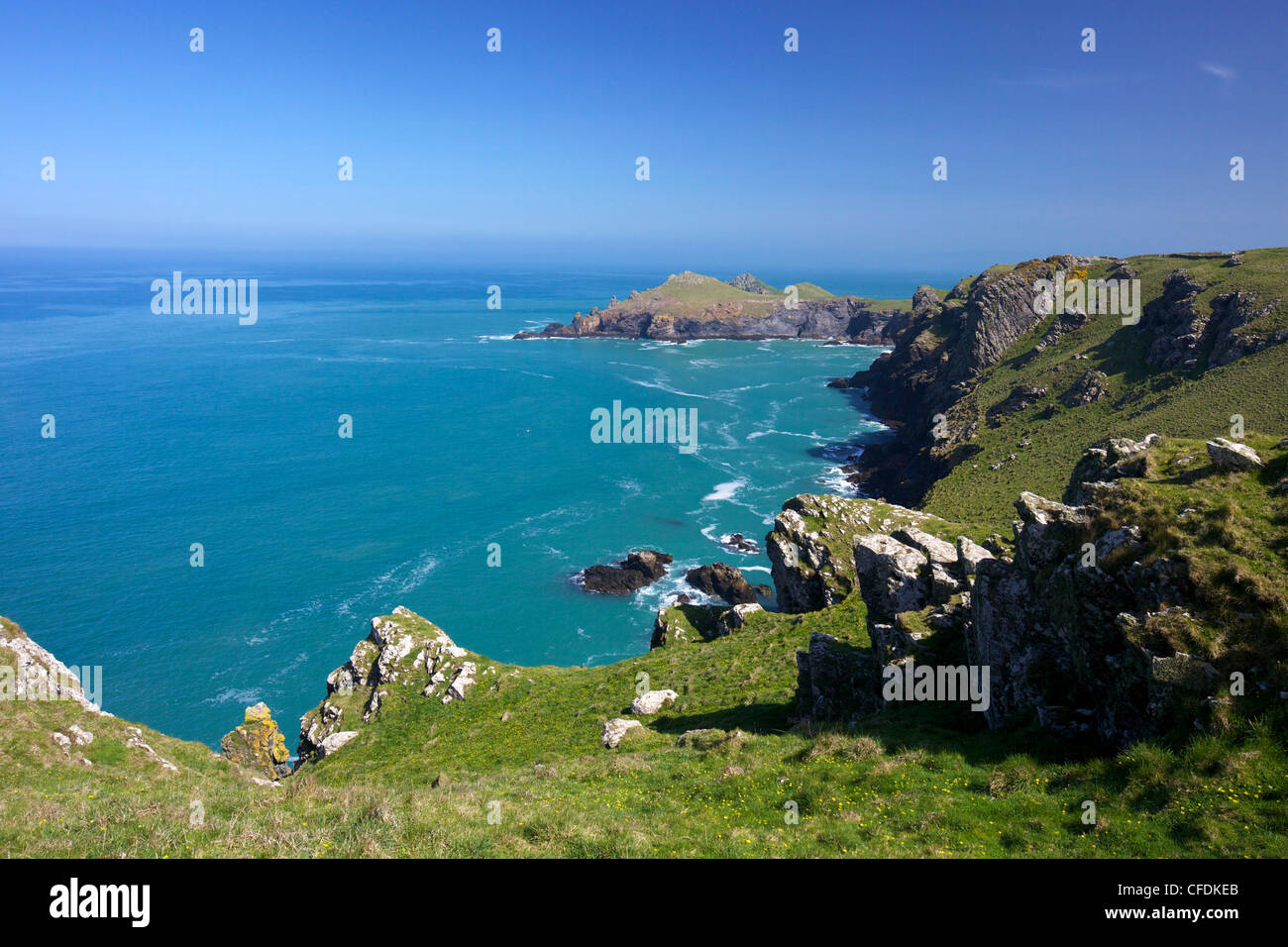 View of Atlantic surf at Rumps Point, Pentire Headland, North Cornwall, England, United Kingdom, Europe - Stock Image