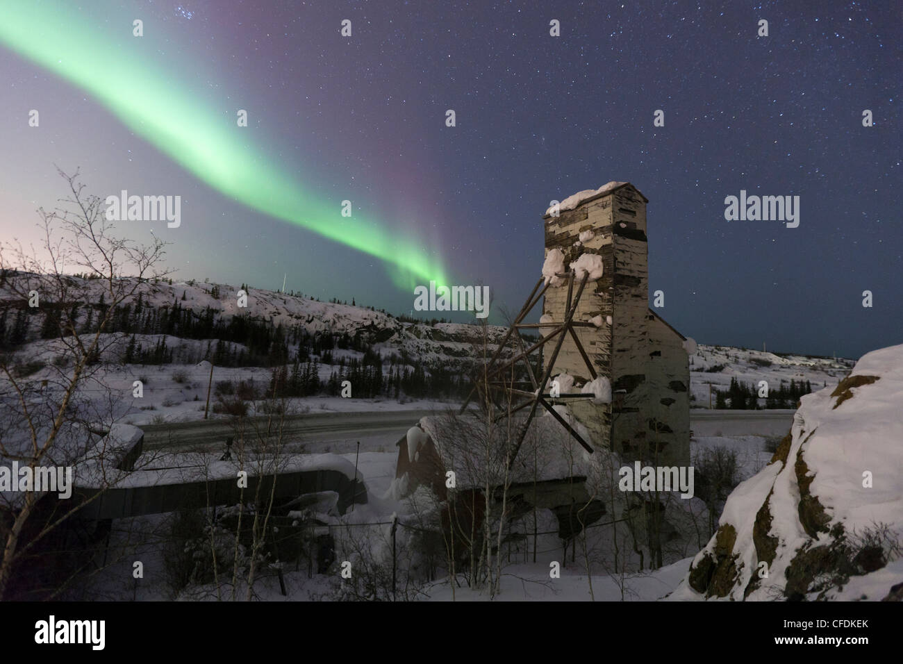 The aurorborealis northern lights  one abandoned - Stock Image