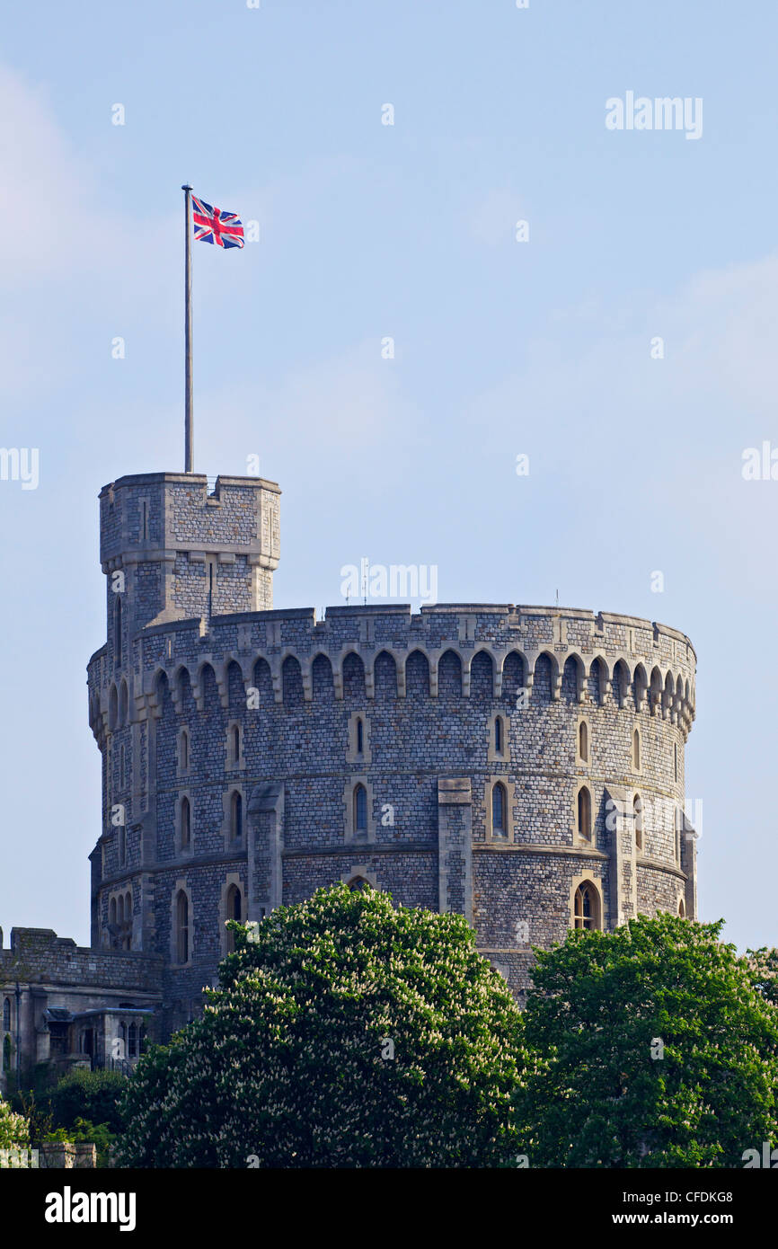 Union Jack flag flying,the Round Tower, Windsor Castle, Windsor, Berkshire, England, United Kingdom, Europe - Stock Image