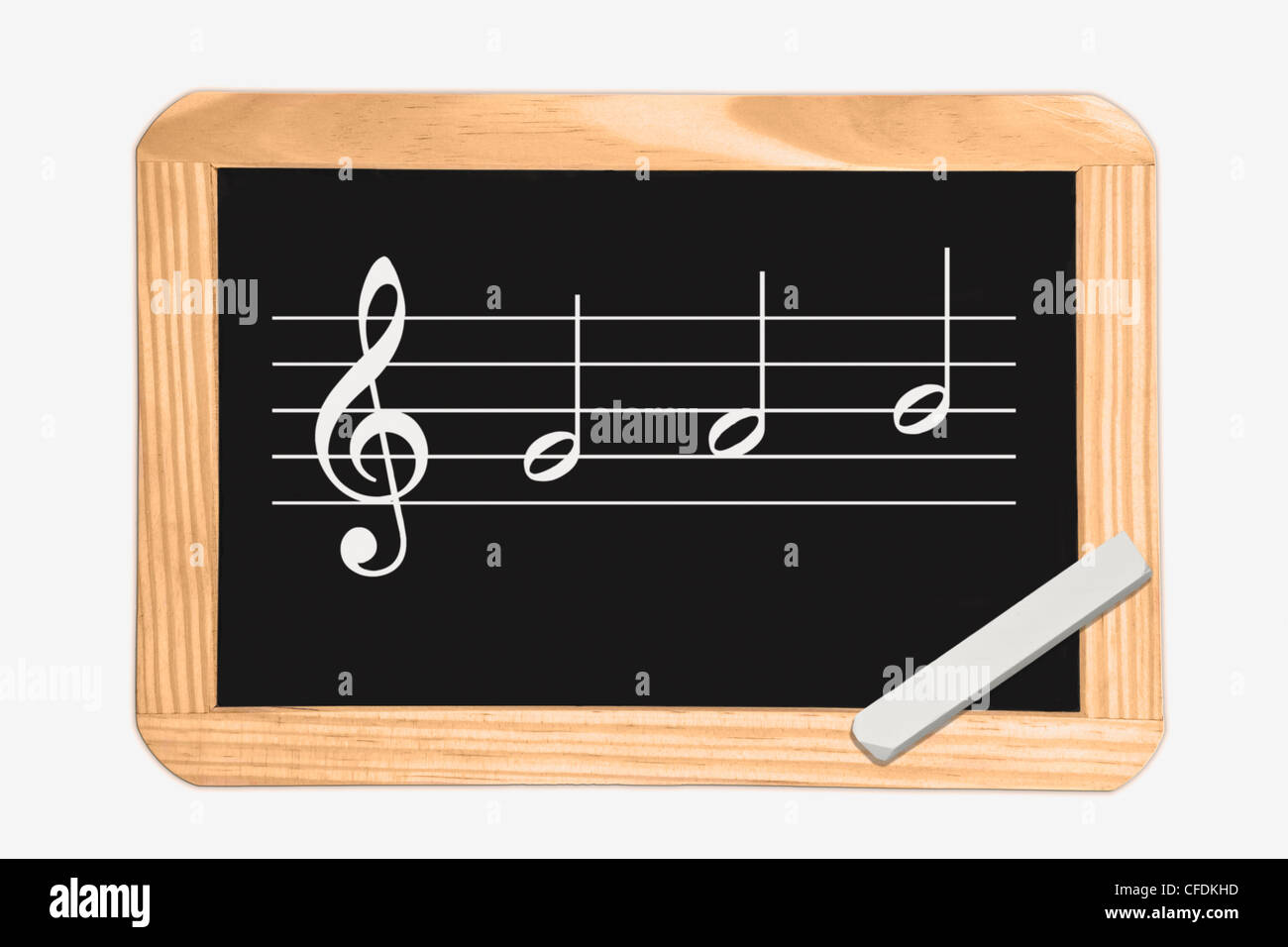 Detail photo of a chalkboard with a clef and a scale, white chalk lies in a corner, background white. - Stock Image