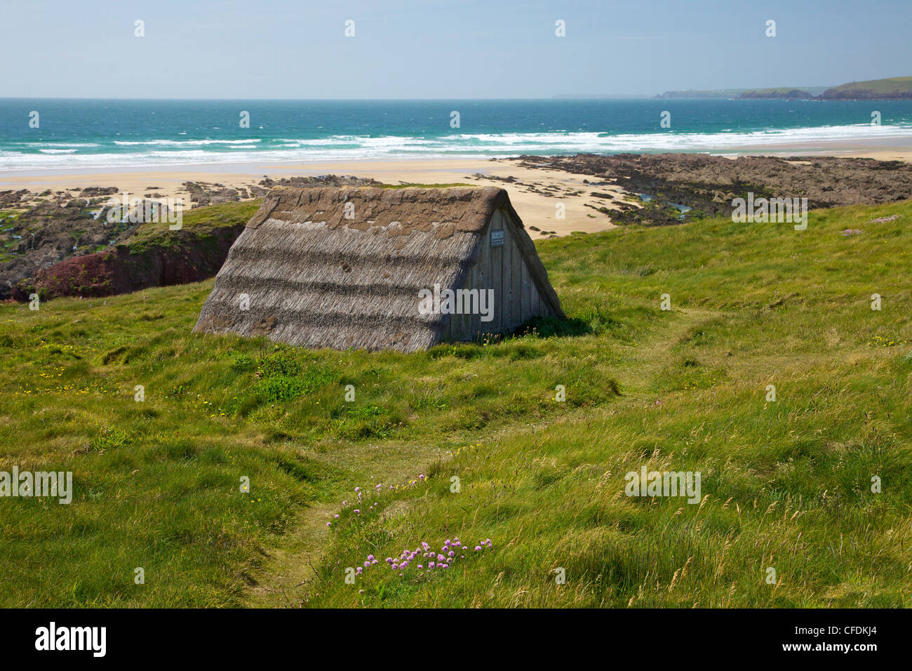 Seaweed drying hut, Freshwater West beach, Pembrokeshire National Park, Wales, United Kingdom, Europe - Stock Image