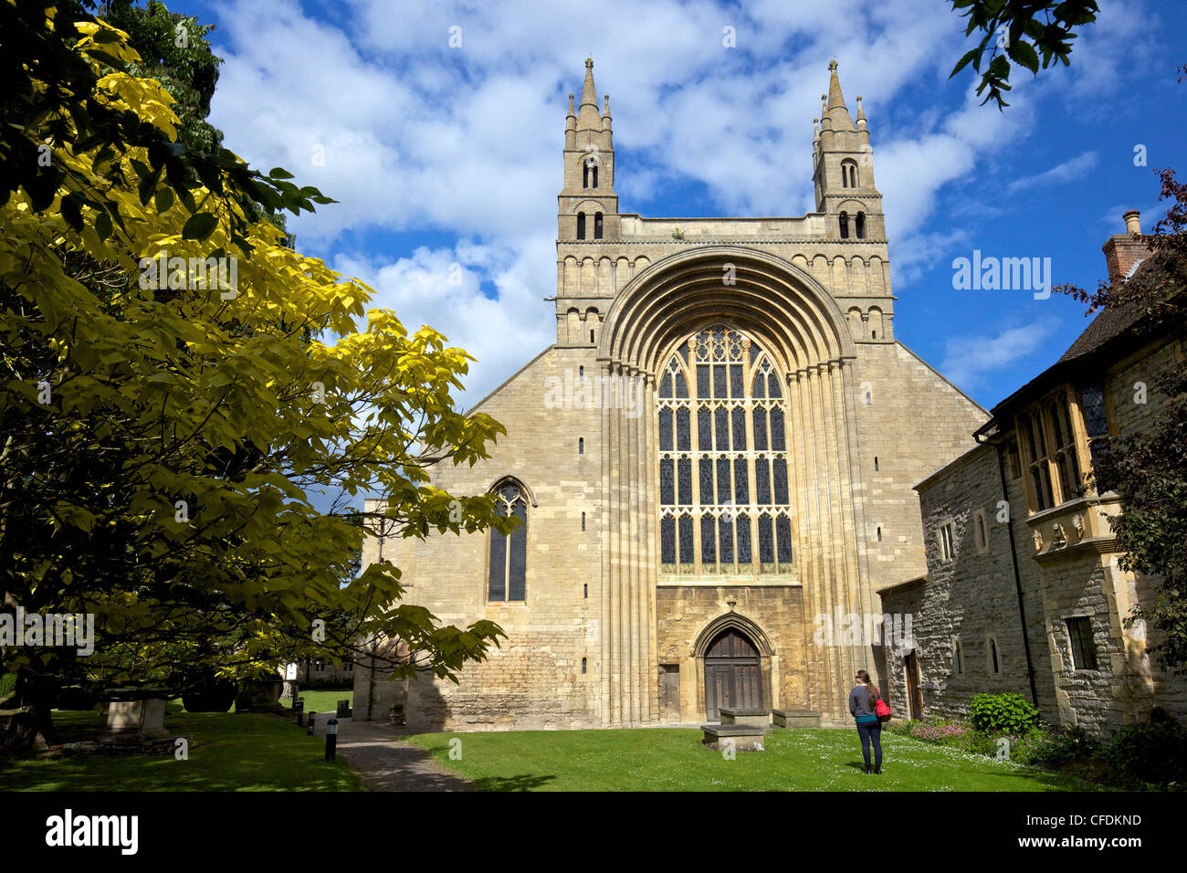 West front of Tewkesbury Abbey (Abbey of the Blessed Virgin), Tewkesbury, Gloucestershire, England, UK - Stock Image
