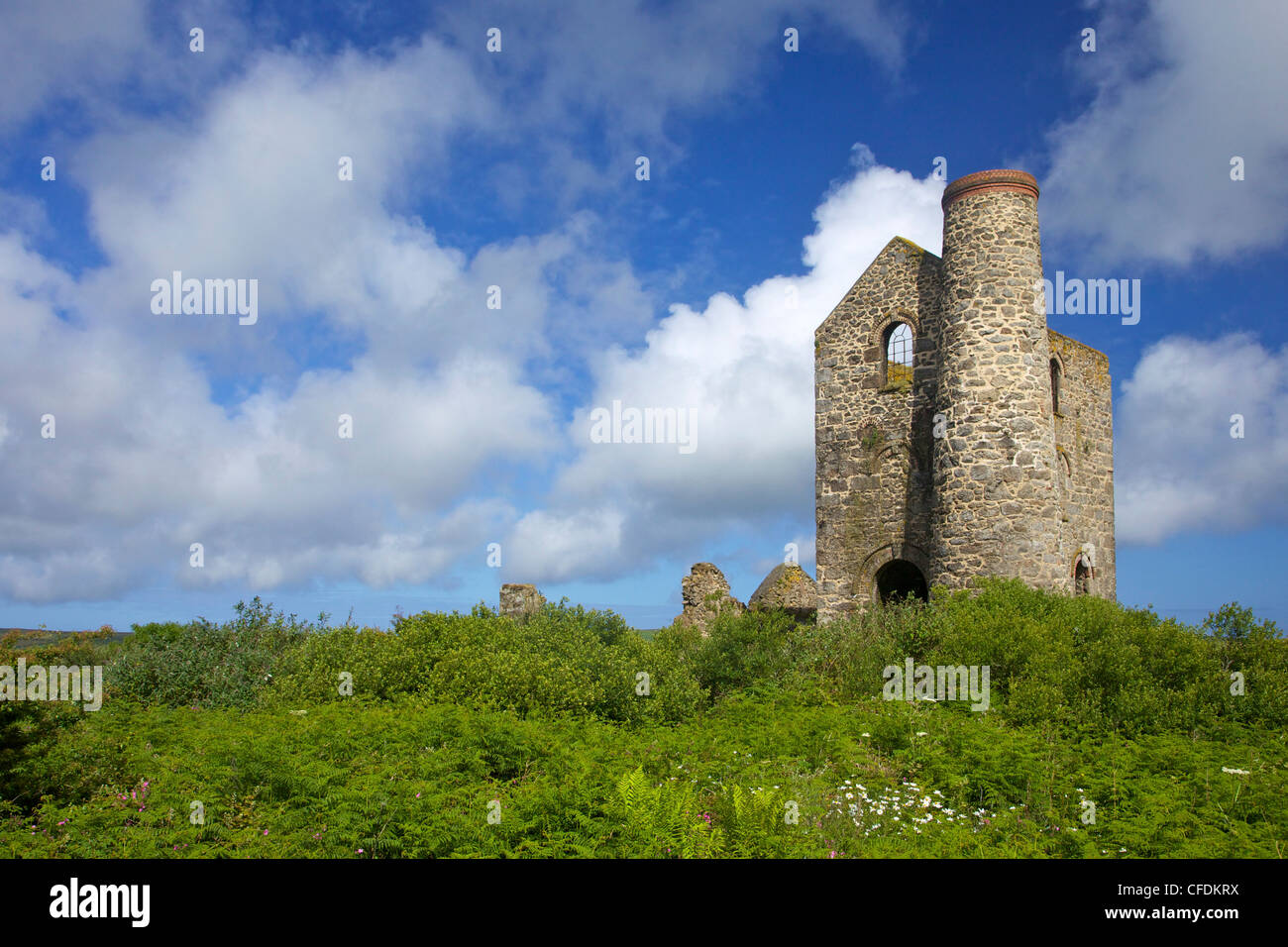 Wheal Reath ruined Cornish tin mine engine house, Cripplesease near St. Ives, West Cornwall, England, United Kingdom, - Stock Image