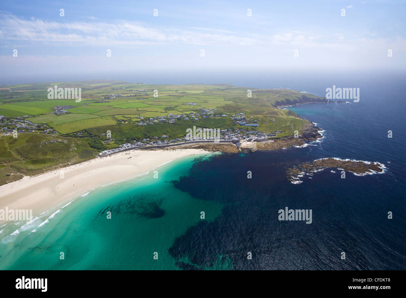 Aerial photo of Sennen Cove and Lands End Peninsula, West Penwith, Cornwall, England, United Kingdom, Europe - Stock Image