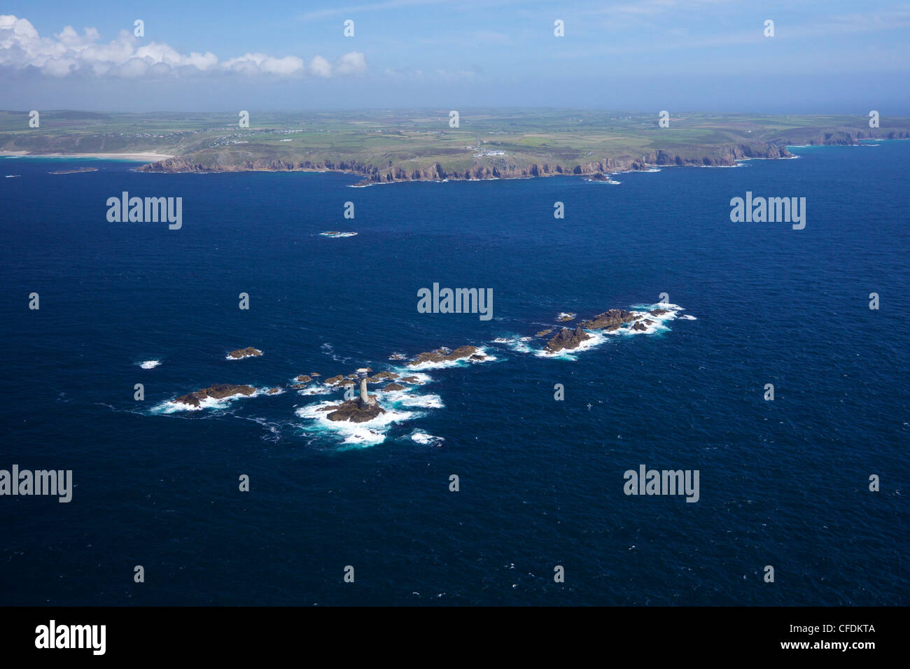 Aerial photo of Longships Lighthouse and Lands End Peninsula, West Penwith, Cornwall, England, United Kingdom, Europe - Stock Image