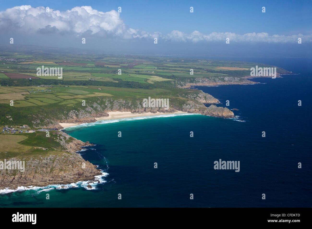 Aerial photo of Lands End Peninsula, Treen Cliff, Logan Rock, West Penwith, Cornwall, England, UK - Stock Image