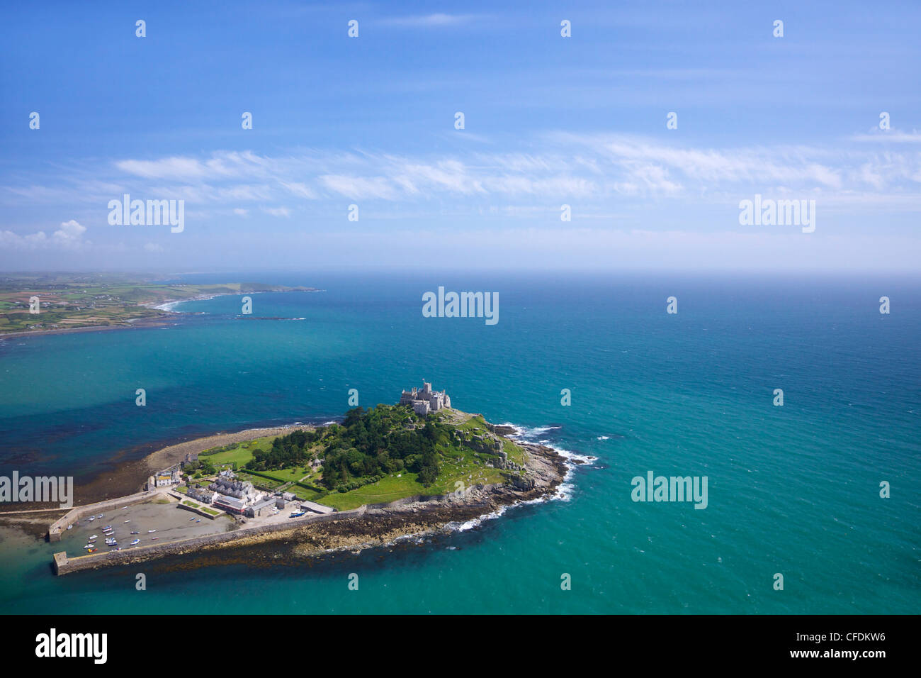 Aerial view of St. Michael's Mount, Penzance, Lands End Peninsula, West Penwith, Cornwall, England, United Kingdom, - Stock Image