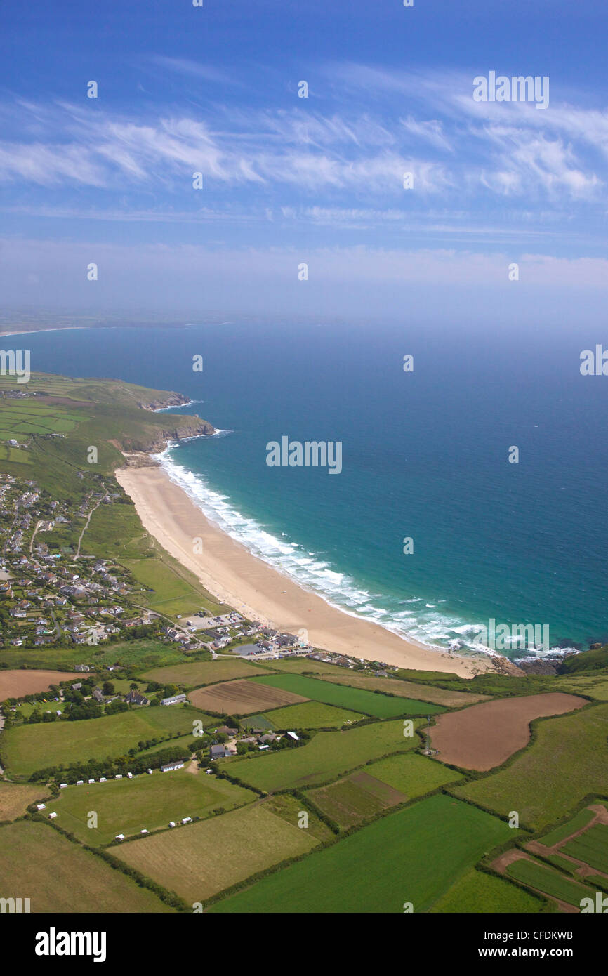 Aerial photo of Praa Sands, Cornwall, England, United Kingdom, Europe - Stock Image