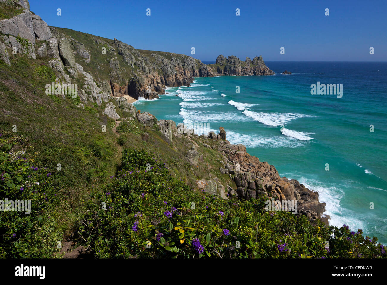 Surf and turquoise sea at Pednvounder beach, Lands End Peninsula, West Penwith, Cornwall, England, UK - Stock Image
