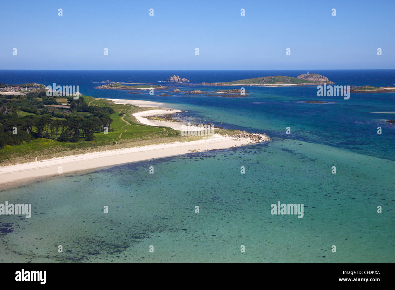 Aerial view of Tresco, Isles of Scilly, England, United Kingdom, Europe - Stock Image