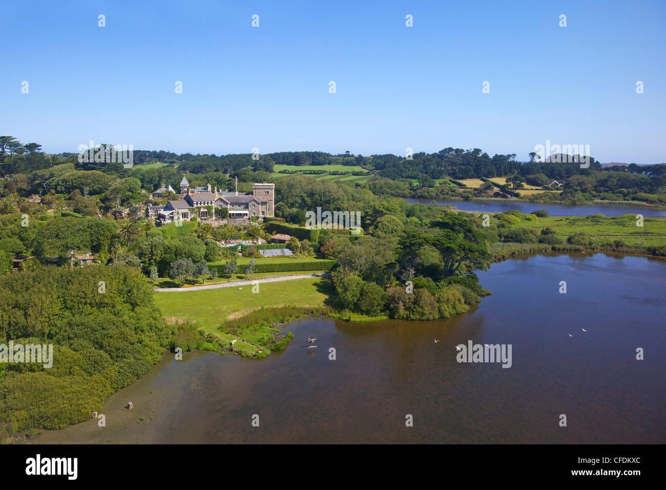 AerIal photo of Tresco Abbey, Isles of Scilly, England, United Kingdom, Europe - Stock Image