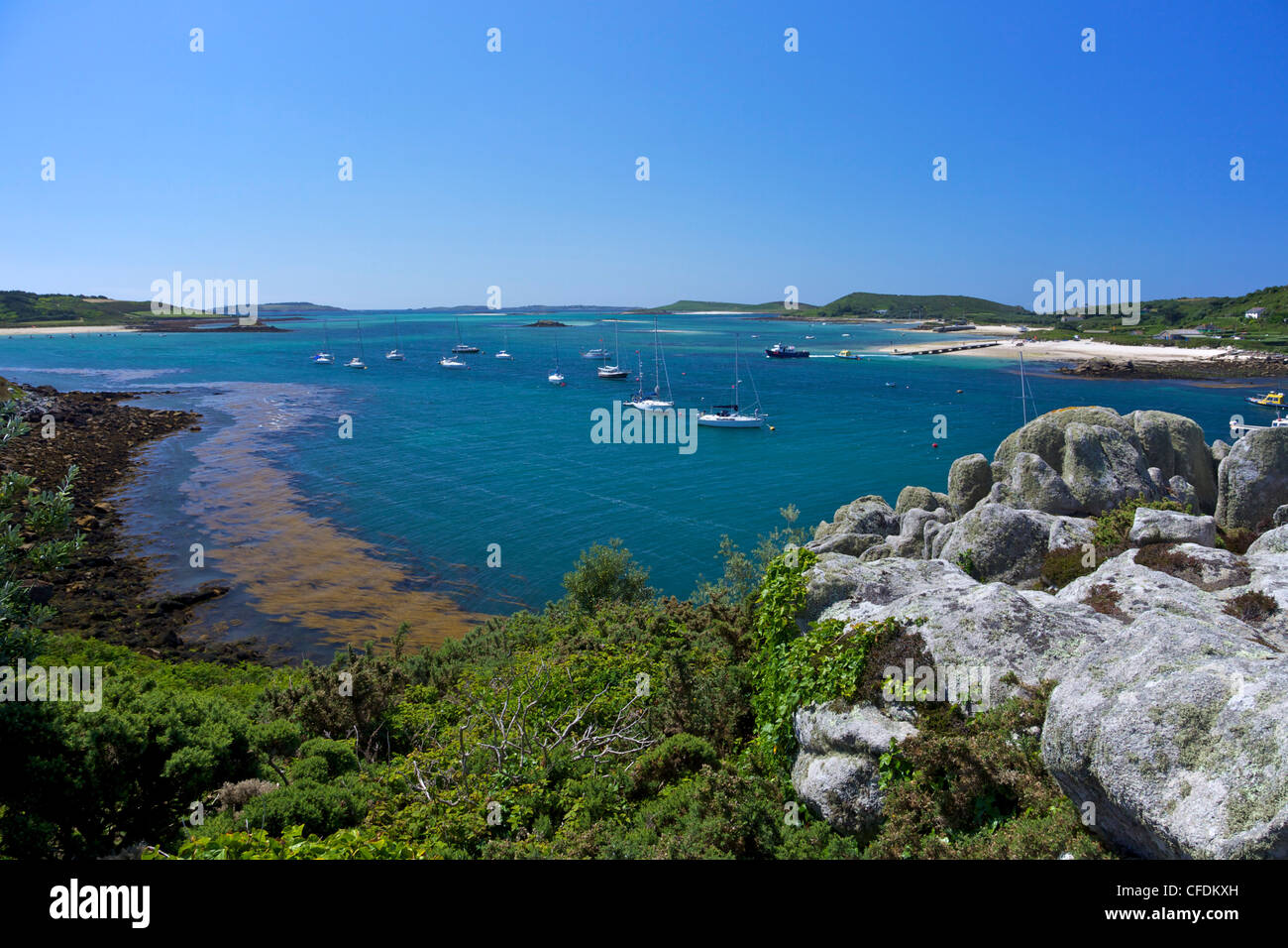 Frenchman's Point, looking to Bryher, Island of Tresco, Isles of Scilly, England, United Kingdom, Europe - Stock Image