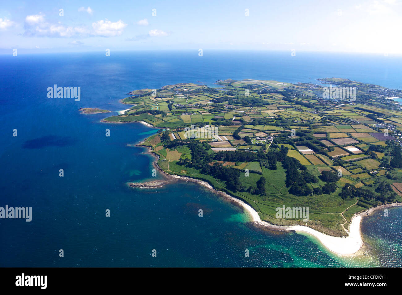 Aerial view of St. Mary's island, Isles of Scilly, England, United Kingdom, Europe - Stock Image