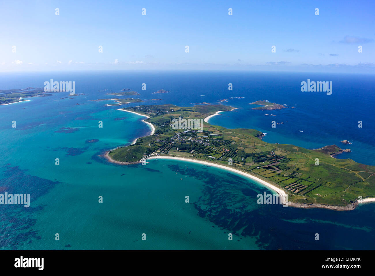 AerIal photo of St. Martin's island, Isles of Scilly, England, United Kingdom, Europe - Stock Image