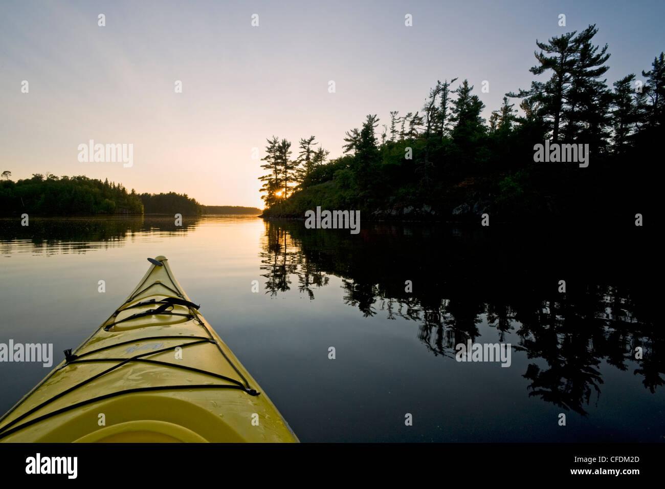 Kayak on Lake of the Woods, Northwestern Ontario, Canada - Stock Image