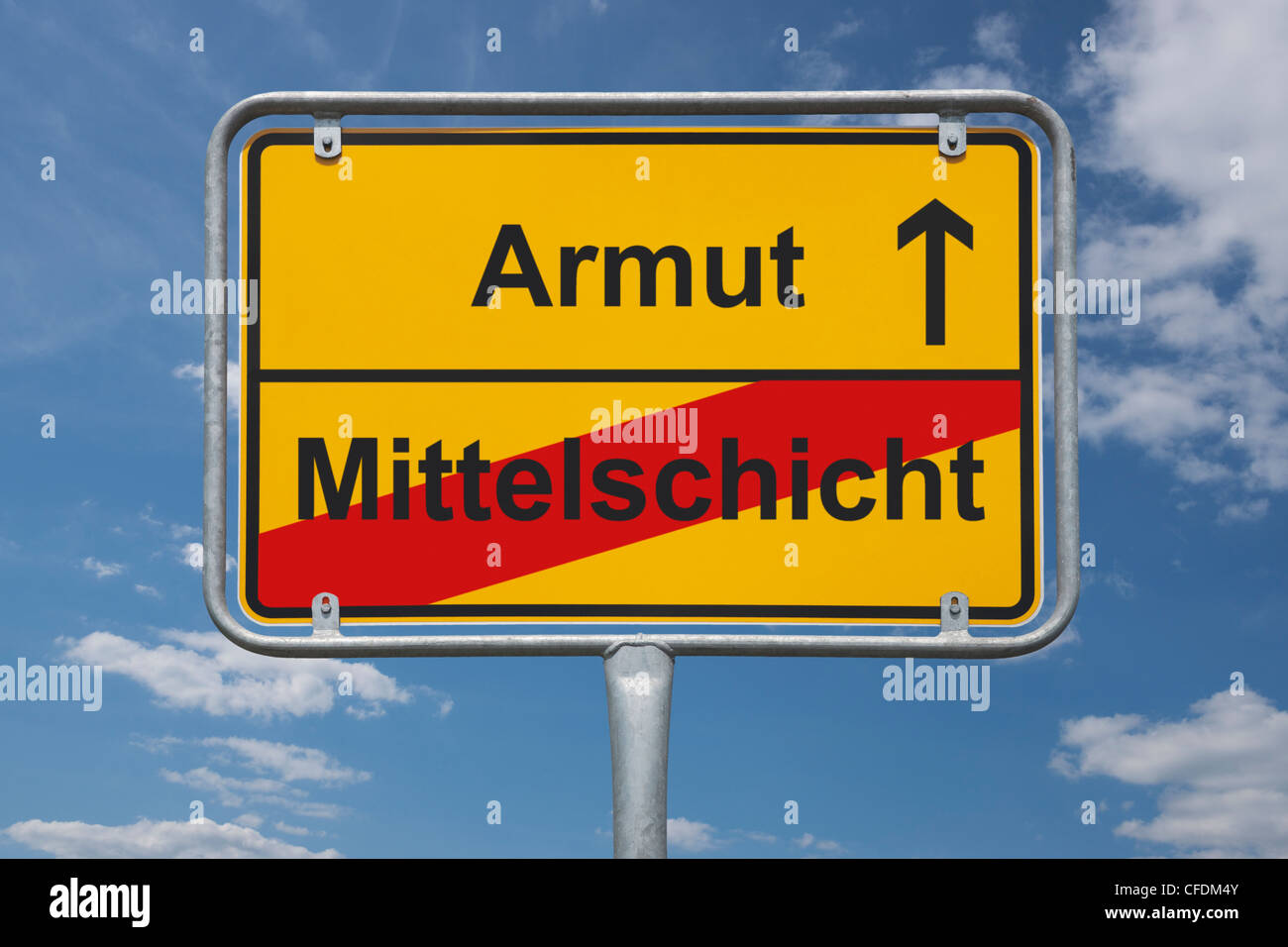Town sign Germany, End of the town with the inscription end of Middle class, beginning poverty, background sky. - Stock Image