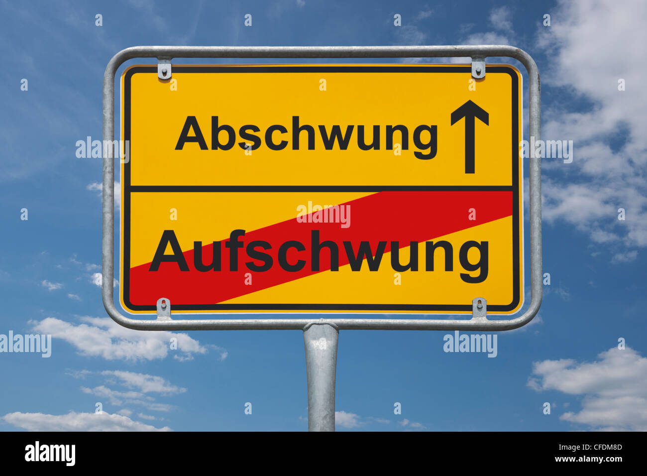Town sign Germany, End of the town with the inscription end of upswing, beginning downturn, background sky. - Stock Image