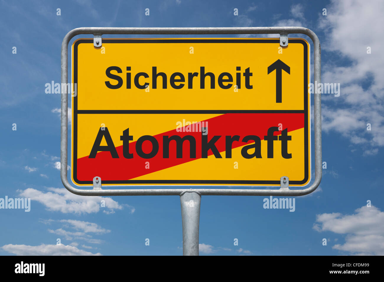 Town sign Germany, End of the town with the inscription end of nuclear power, beginning safety, background sky - Stock Image