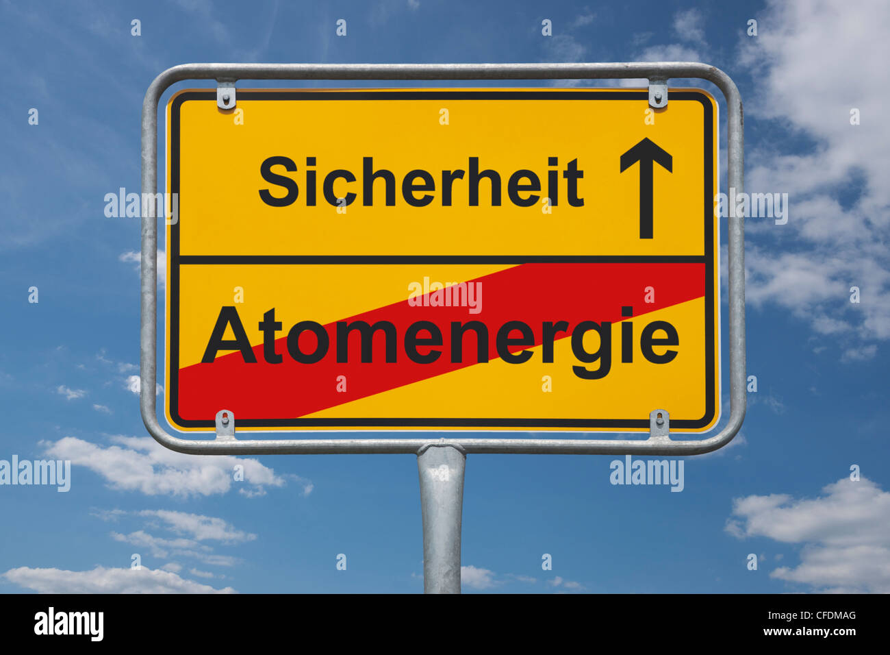 Town sign Germany, End of the town with the inscription end of nuclear power, beginning safety, background sky. - Stock Image