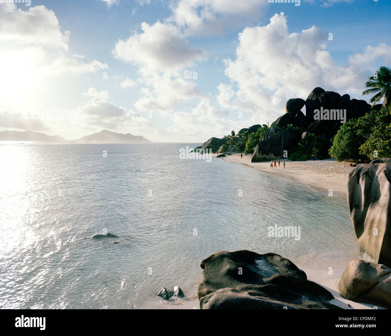 Worlds most famous beach Anse Source d'Argent with its granitic rocks, south western La Digue, La Digue and - Stock Image