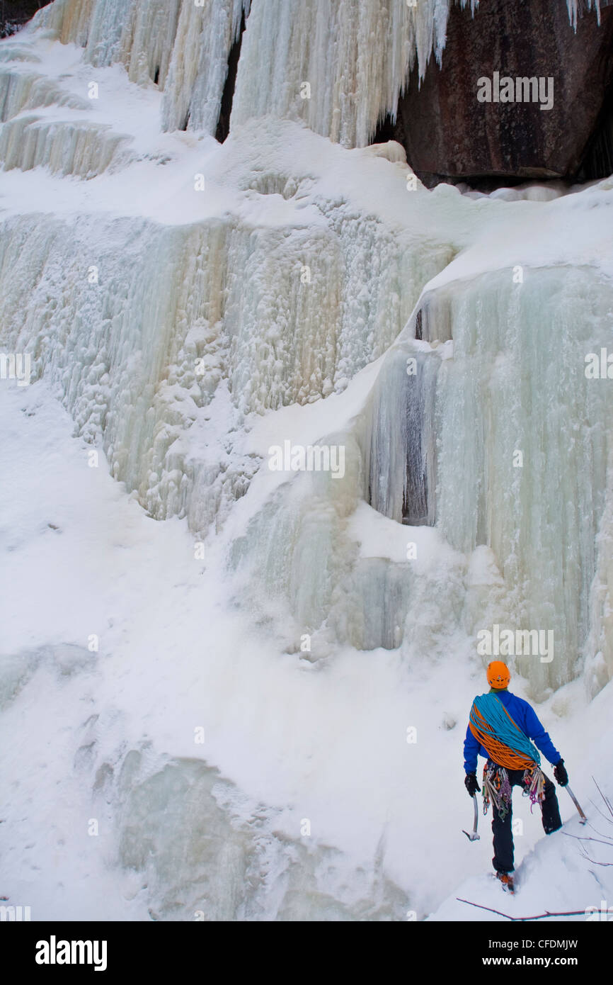 A young man gets ready to climb La Mer de Glace 4+, near St Raymond, Quebec, Canada - Stock Image