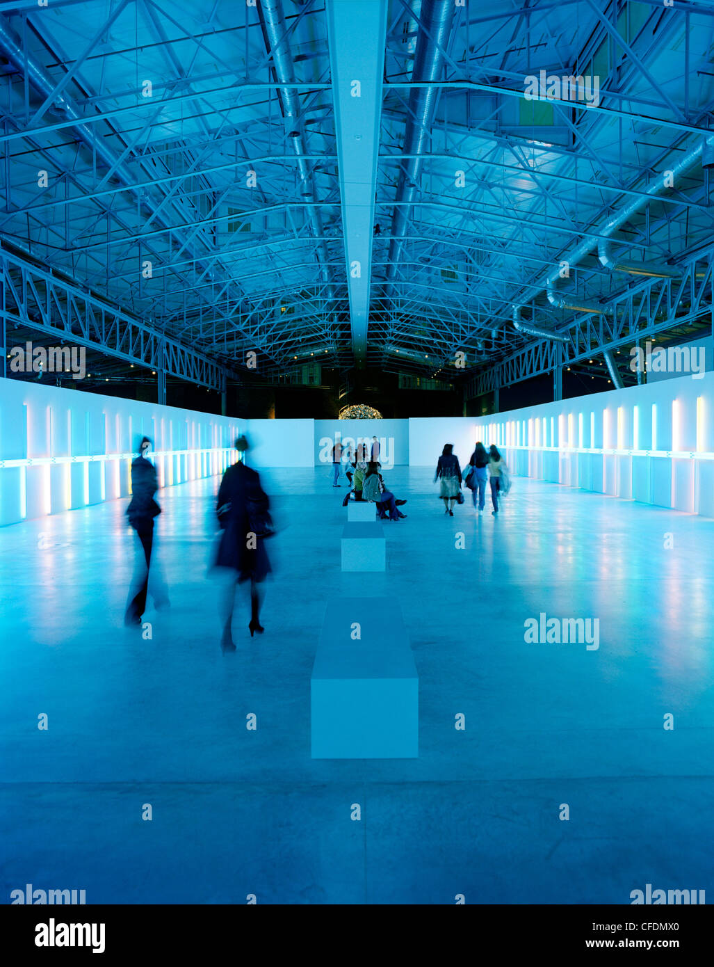 Light installation by Dan Flavin, exibition at The Garage, Center for Contemporary Cultur, Moscow, Russia, Europe - Stock Image