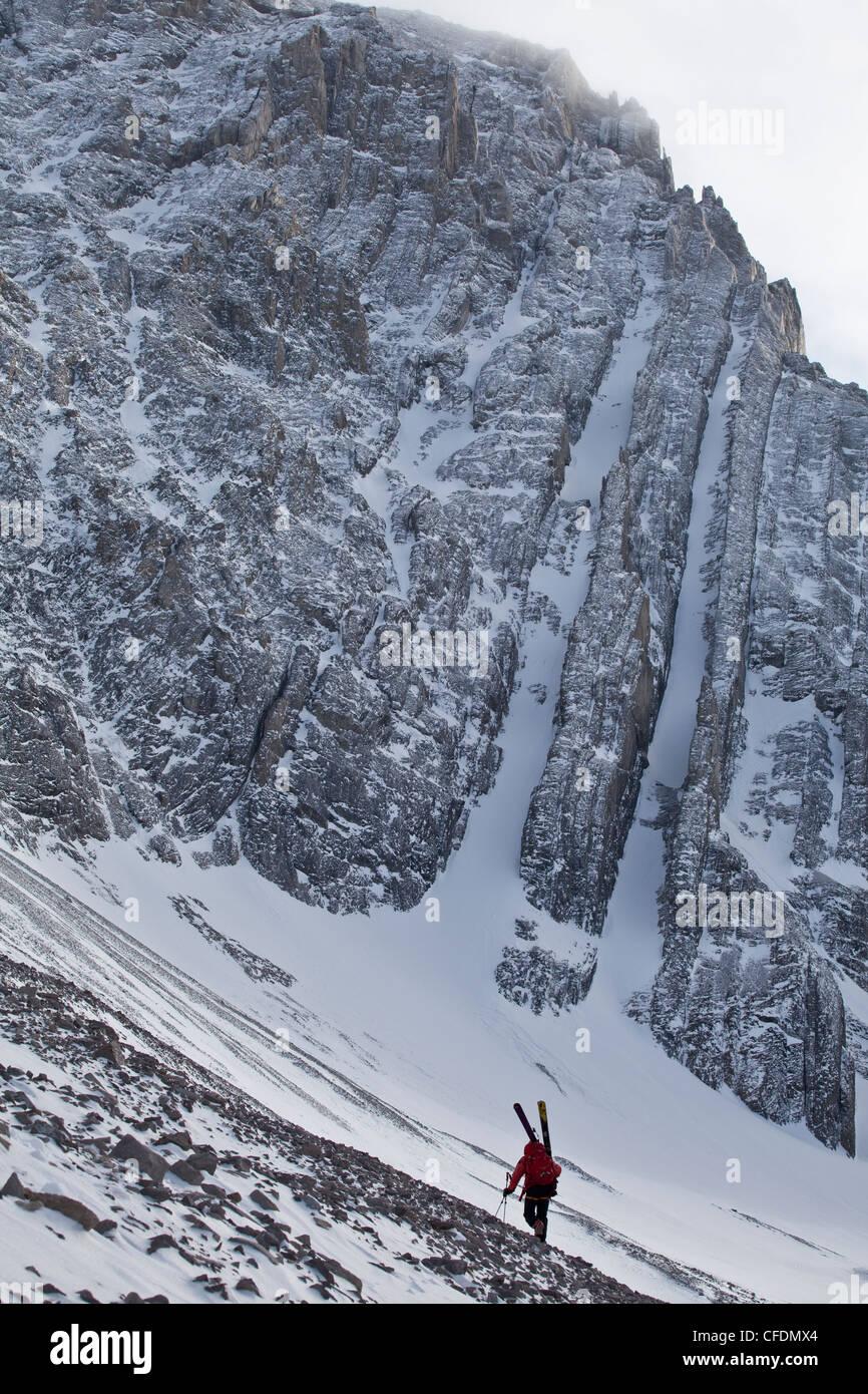 backcountry skier bootpacks along snowswept ridge - Stock Image