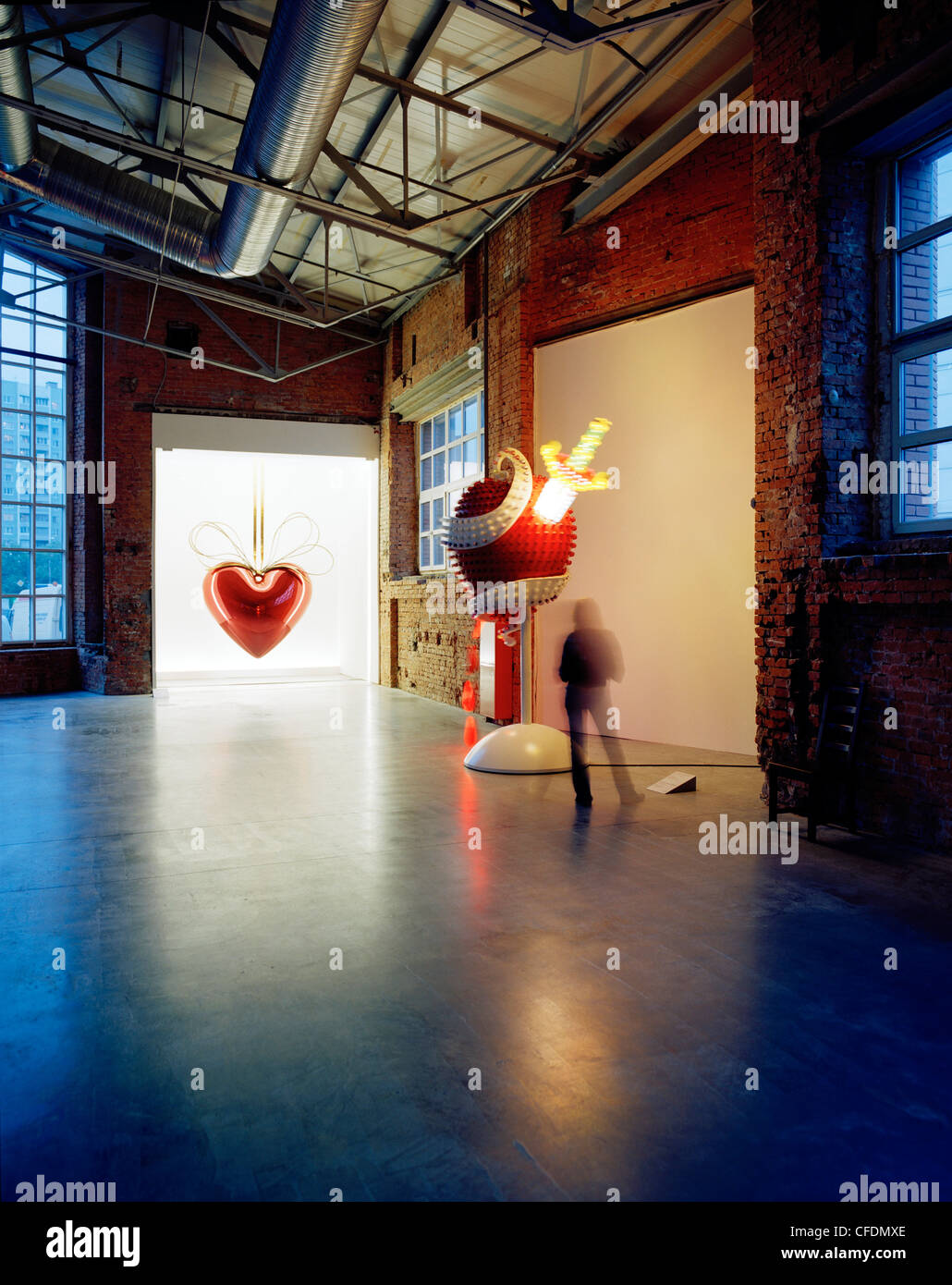 Artwork Hanging Heart by Jeff Koons, exibition at The Garage, Center for Contemporary Cultur, Moscow, Russia, Europe - Stock Image